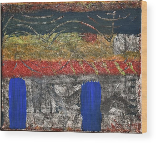 Abstract Wood Print featuring the painting Marking 01 by Pam Roth O'Mara