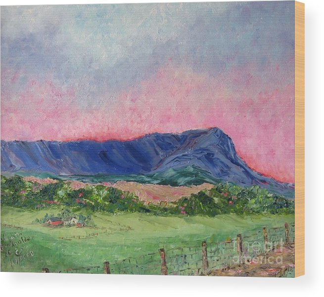 Landscape Wood Print featuring the painting Massanutten Peak Beyond Dawn - SOLD by Judith Espinoza