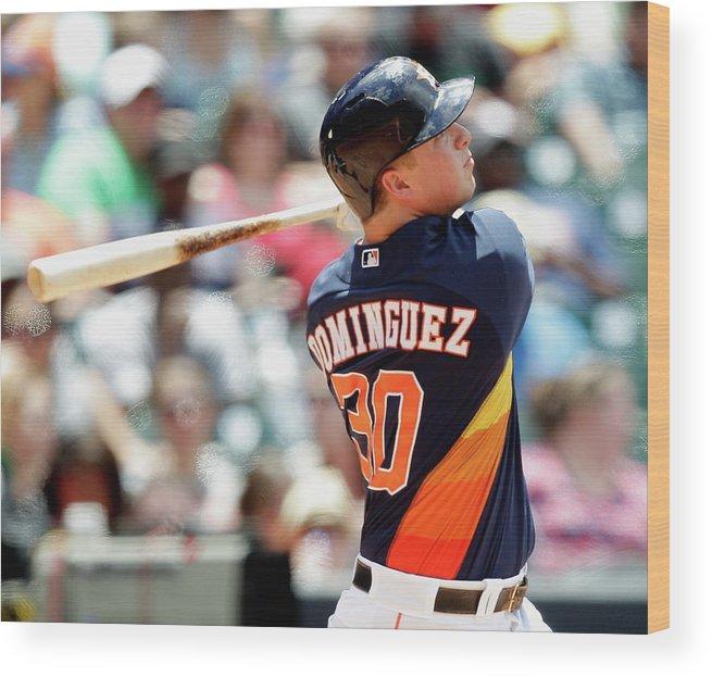 American League Baseball Wood Print featuring the photograph Matt Dominguez by Bob Levey