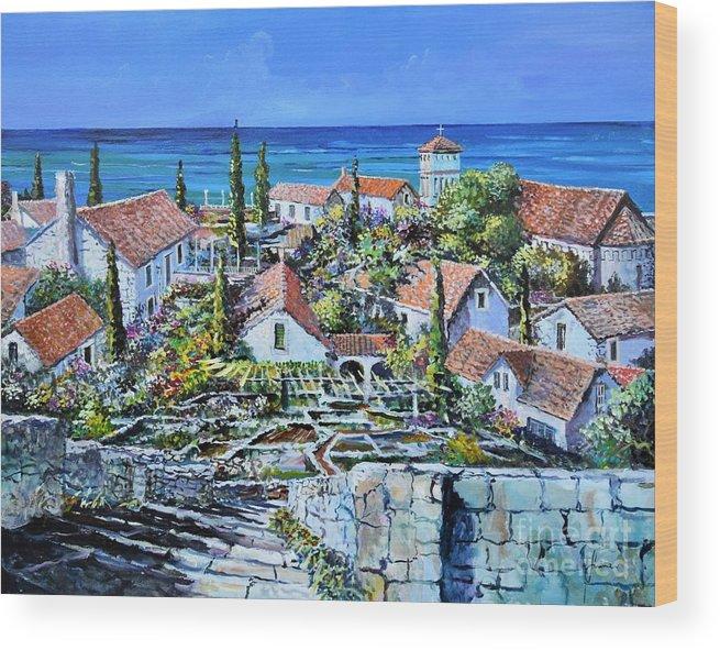 Original Painting Wood Print featuring the painting Mediterraneo by Sinisa Saratlic