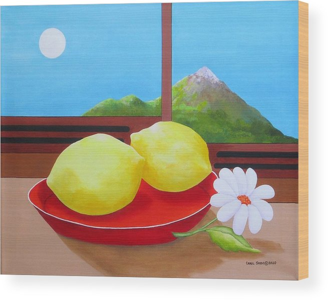 Still Life Wood Print featuring the painting Mellow Yellow by Carol Sabo
