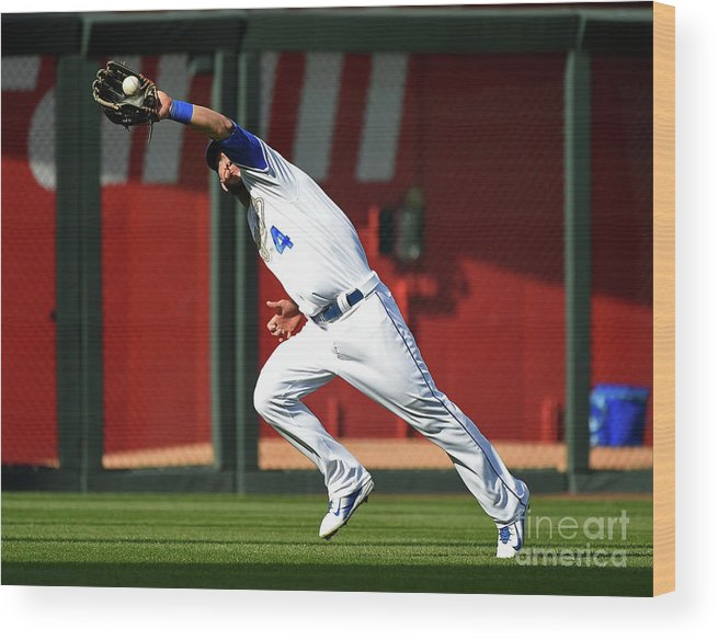 People Wood Print featuring the photograph Michael Conforto and Alex Gordon by Ed Zurga