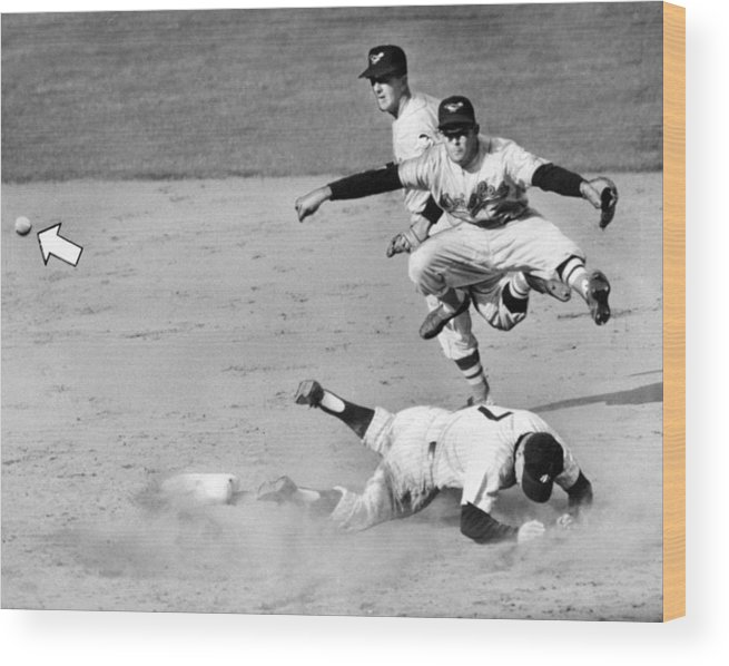 American League Baseball Wood Print featuring the photograph Mickey Mantle and Yogi Berra by New York Daily News Archive