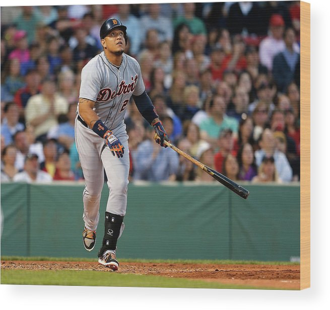 American League Baseball Wood Print featuring the photograph Miguel Cabrera by Jim Rogash