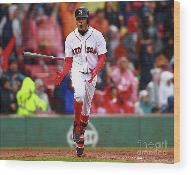 People Wood Print featuring the photograph Mookie Betts by Omar Rawlings