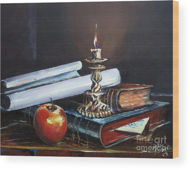 Original Painting Wood Print featuring the painting Old Books by Sinisa Saratlic