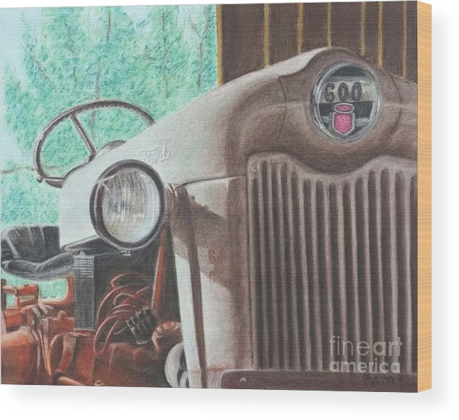 Wall Art Wood Print featuring the pastel Old Mick by Chris Naggy
