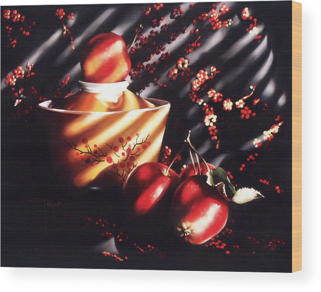 Oriental Wood Print featuring the pastel Ornamental Crabapples by Dianna Ponting