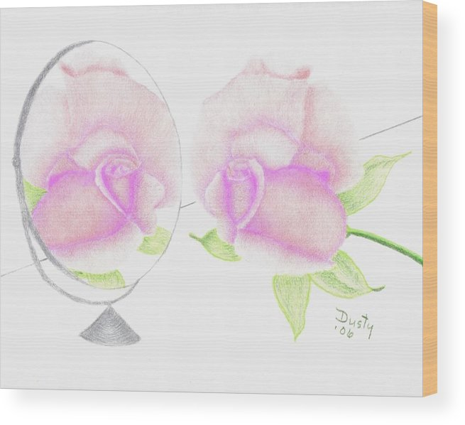 Rose Wood Print featuring the drawing Pink Reflection by Dusty Reed