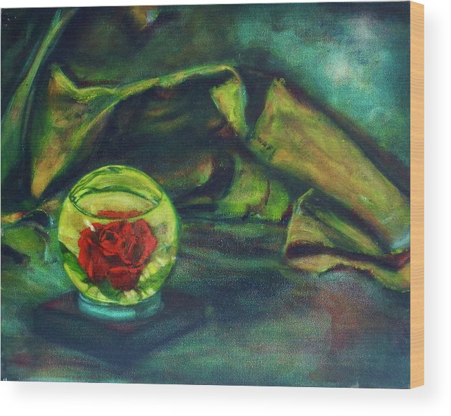 Oil Painting On Canvas Wood Print featuring the painting Preserved Rose . . Draped Canvas by Sean Connolly
