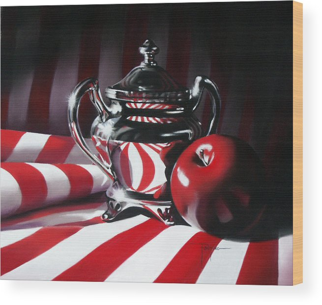 Apple Wood Print featuring the pastel Red White And Apple by Dianna Ponting
