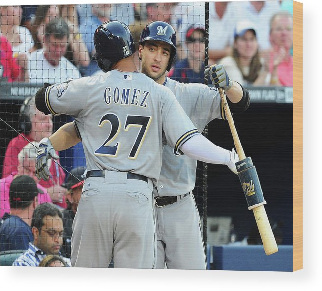 Atlanta Wood Print featuring the photograph Ryan Braun, Carlos Gomez, and Ervin Santana by Scott Cunningham