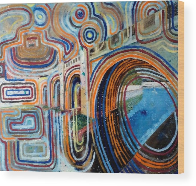 Abstract Construction Of Bridge Wood Print featuring the painting SanGandolfo by Biagio Civale