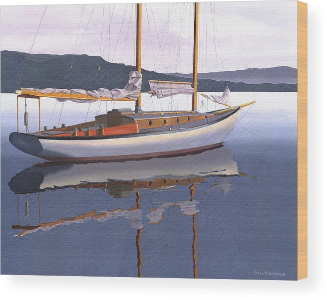 Schooner Wood Print featuring the painting Schooner at dusk by Gary Giacomelli