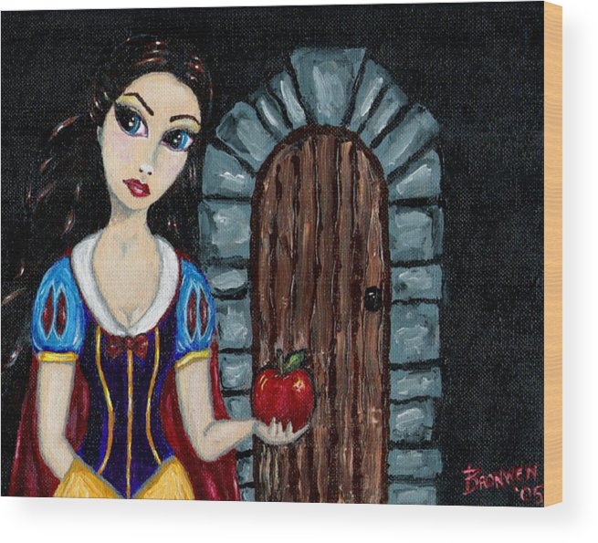Fairy Tale Wood Print featuring the painting Snow White Considers The Apple by Bronwen Skye
