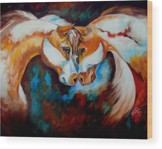 Horse Wood Print featuring the painting Spirit Eagle 2007 by Marcia Baldwin