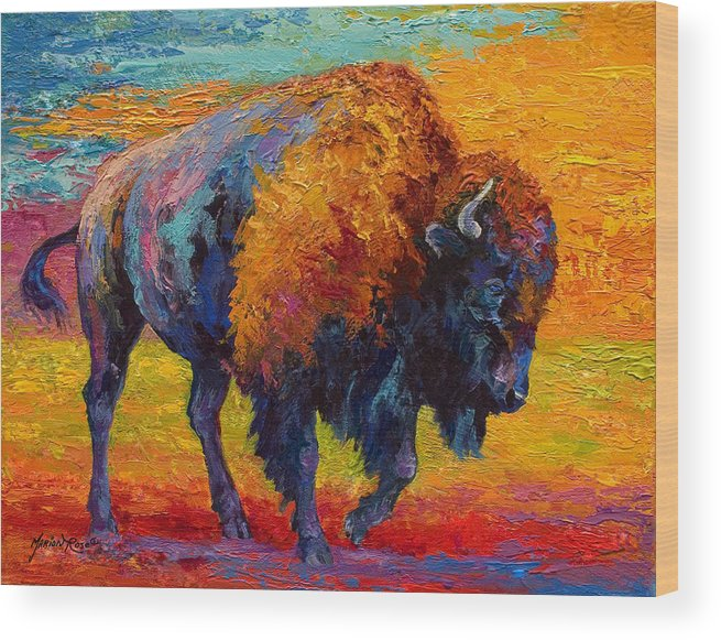 Bison Wood Print featuring the painting Spirit Of The Prairie by Marion Rose