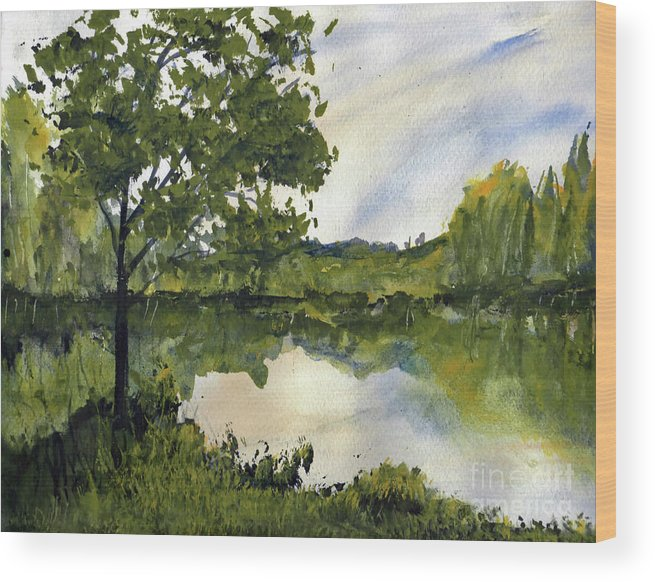 Suwannee Wood Print featuring the painting Spring Comes Slowly on the Suwannee River by Randy Sprout