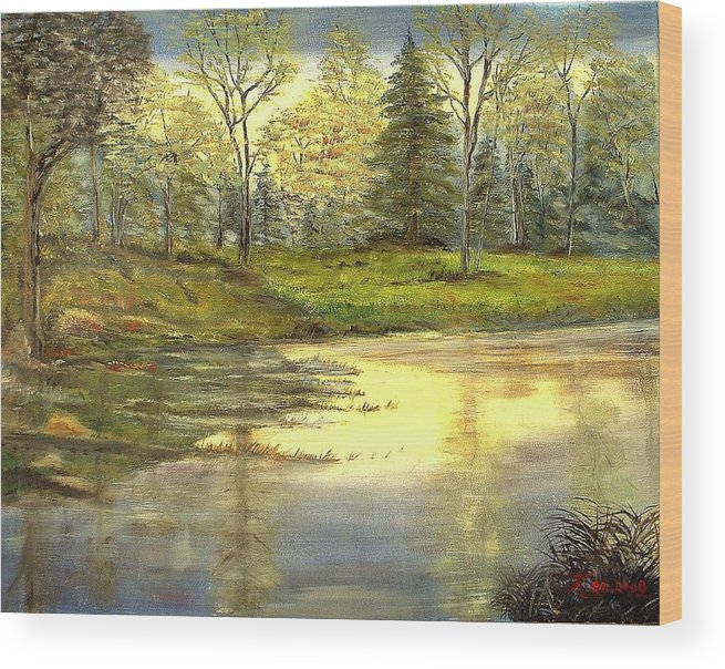 Landscape Trees Lake Reflections Wood Print featuring the painting Spring Time by Kenneth LePoidevin