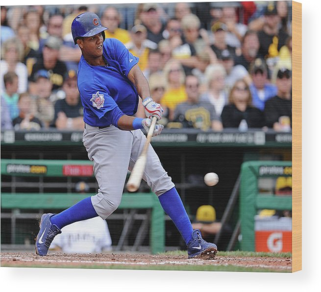 Pnc Park Wood Print featuring the photograph Starlin Castro by Joe Sargent