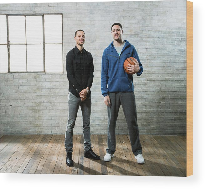 Nba Pro Basketball Wood Print featuring the photograph Stephen Curry and Klay Thompson by Nathaniel S. Butler