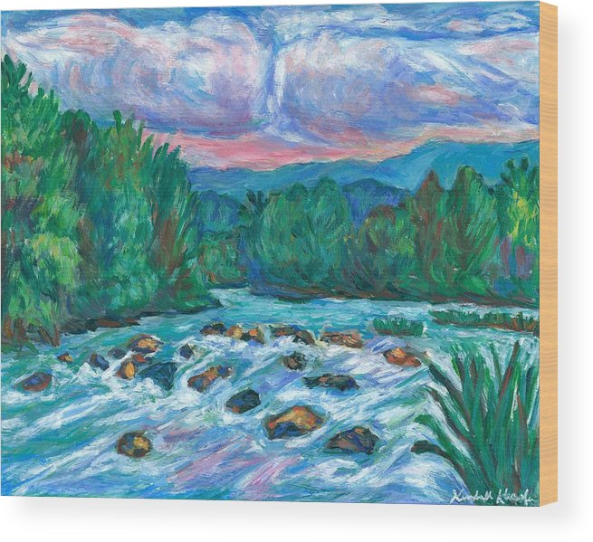 Landscape Wood Print featuring the painting Stepping Stones on the New River by Kendall Kessler