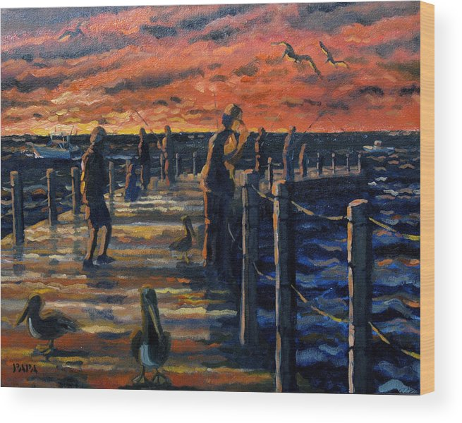 Sunrise Wood Print featuring the painting Sunrise At The Inlet by Ralph Papa