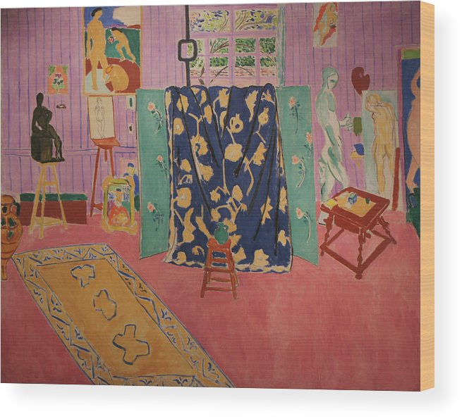 Henri Matisse Wood Print featuring the painting The Pink Studio by Henri Matisse
