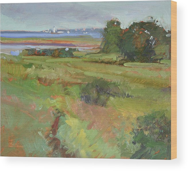 New York Paintings Wood Print featuring the painting This Side of Long Island by Betty Jean Billups