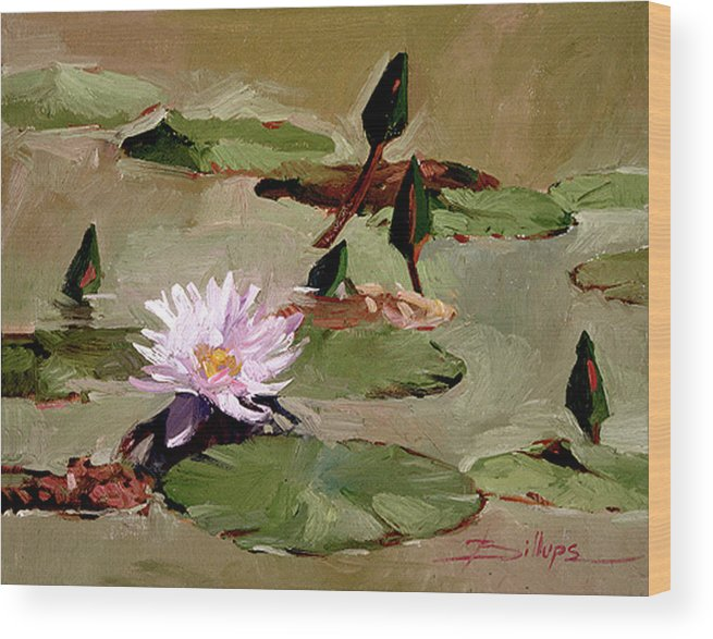Water Lily Paintings Wood Print featuring the painting Tomorrow's Blooms- Water Lilies by Betty Jean Billups