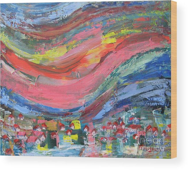 Abstract Landscape Wood Print featuring the painting Village Nestled in the Mountain - SOLD by Judith Espinoza