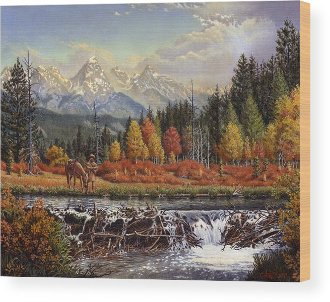 Western Mountain Landscape Wood Print featuring the painting Western Mountain Landscape Autumn Mountain Man Trapper Beaver Dam Frontier Americana Oil Painting by Walt Curlee
