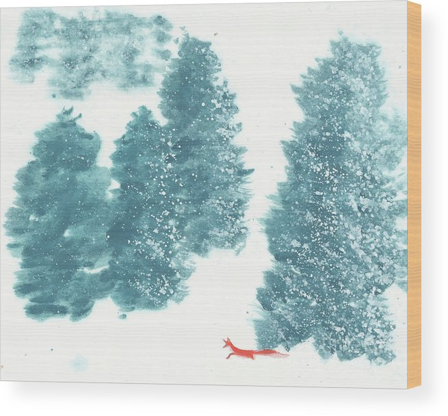 A Red Fox Wanders In A Snowy Forest. A Whisper Of The Great Silence Can Be Heard In The Winter Air. It's A Simple Contemporary Chinese Brush Painting On Rice Paper. Wood Print featuring the painting Whisper of the Forest II by Mui-Joo Wee