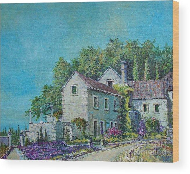 Original Painting Wood Print featuring the painting Village Vista by Sinisa Saratlic