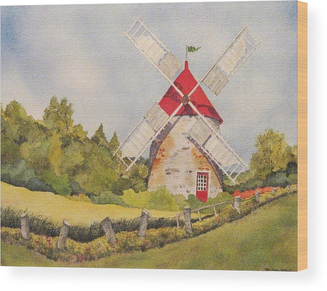 Windmills Wood Print featuring the painting Windmill on Ile aux Coudres Quebec by Mary Ellen Mueller Legault