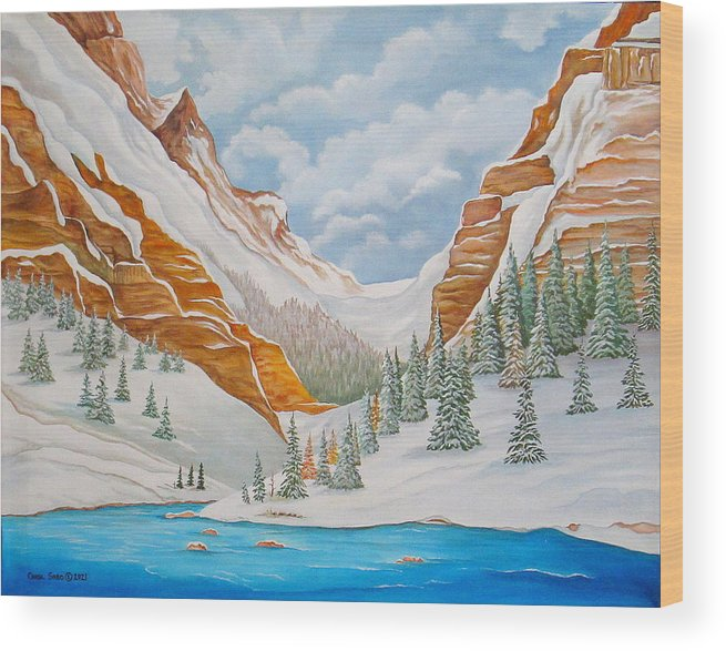 Arizona Wood Print featuring the painting Winter on the Colorado River by Carol Sabo
