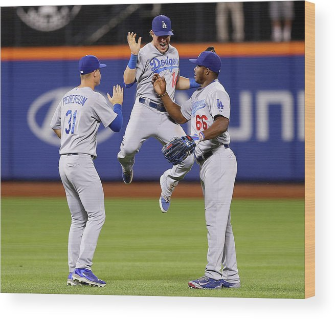 People Wood Print featuring the photograph Yasiel Puig and Joc Pederson by Elsa