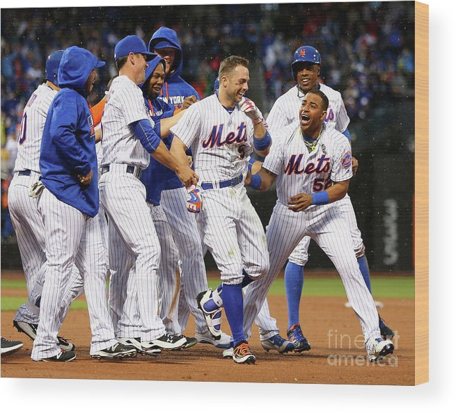 Yoenis Cespedes Wood Print featuring the photograph Yoenis Cespedes and David Wright by Elsa