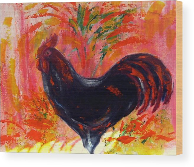 Farm Life Wood Print featuring the painting Black rooster by Joseph Ferguson
