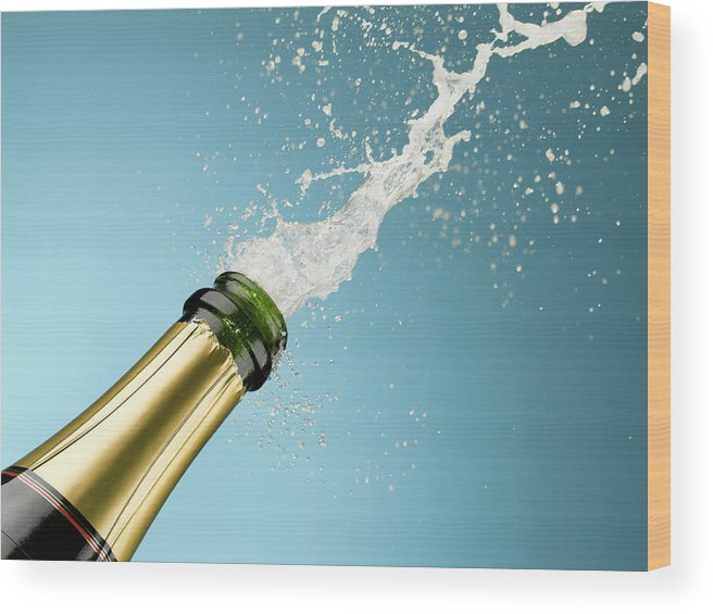 Celebration Wood Print featuring the photograph Champagne Exploding From Bottle by Andy Roberts