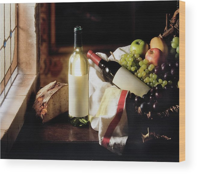 Golden Delicious Apple Wood Print featuring the photograph Still Life With Two Wine Bottles by C-vino