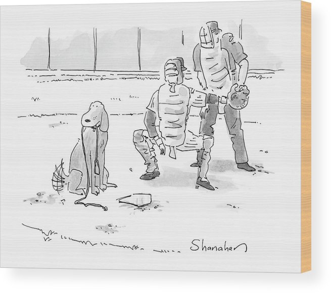 Sports Pets Dogs Baseball Homeplate Walk Wood Print featuring the drawing New Yorker October 10th, 2005 by Danny Shanahan