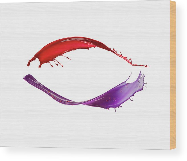 White Background Wood Print featuring the photograph Splashing Of The Color Paint by Level1studio