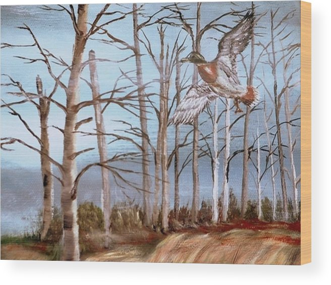 Birds Trees River Lake Landscape Painting Wood Print featuring the painting Birds Landing by Kenneth LePoidevin