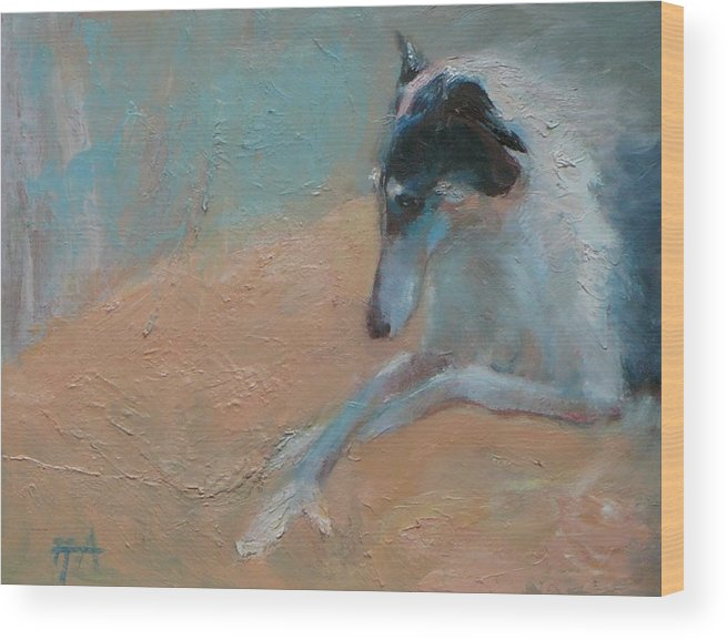 Animal Wood Print featuring the painting SOLD Borzoi Waiting for Dusk by Irena Jablonski