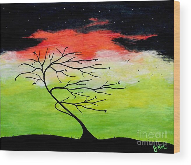 Tree Wood Print featuring the painting A Turbulent Trance by JoNeL Art
