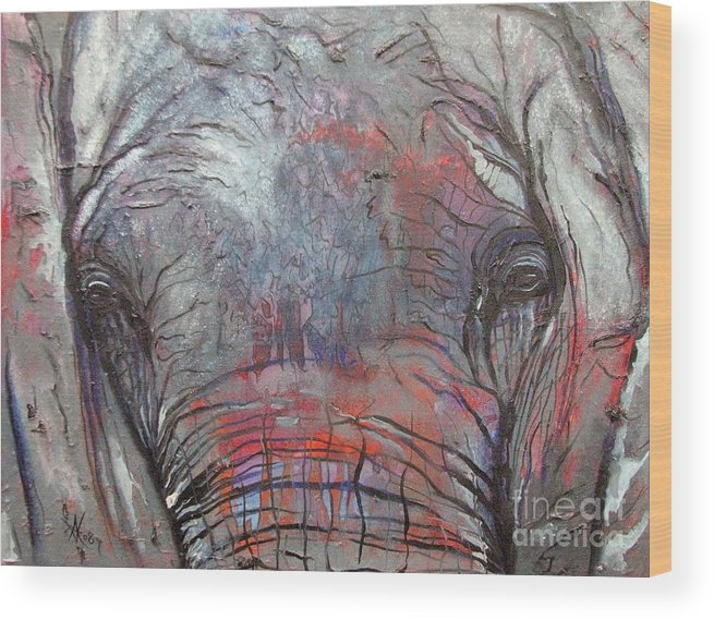 Elephant Wood Print featuring the painting Alone by Aimee Vance