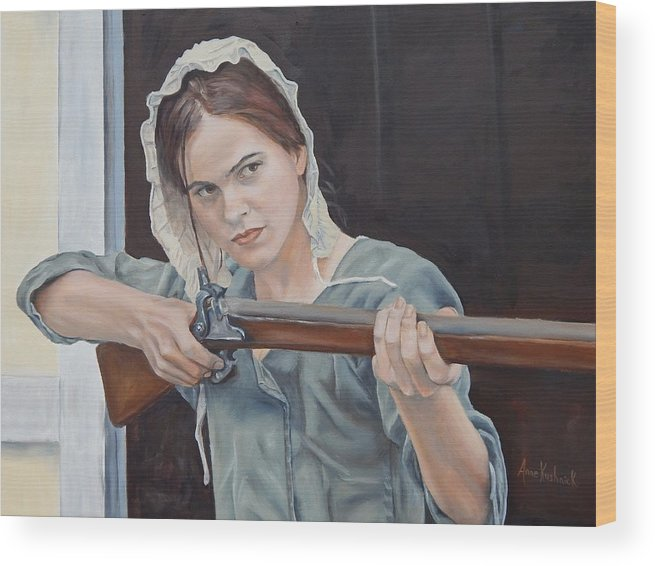 Portrait Wood Print featuring the painting Ani Get Your Gun by Anne Kushnick
