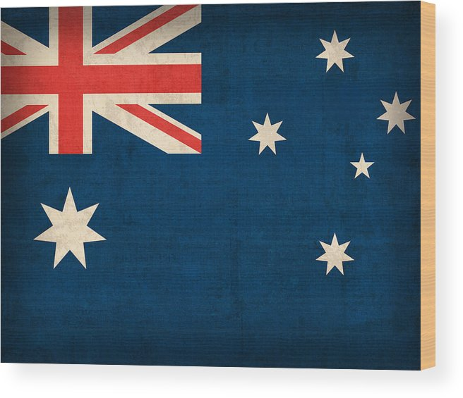 Australia Flag Vintage Distressed Finish Outback Australian Sydney Brisbane Pacific Continent Country Nation Australian Wood Print featuring the mixed media Australia Flag Vintage Distressed Finish by Design Turnpike