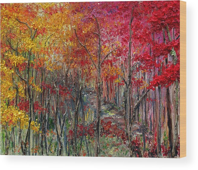 Autumn Wood Print featuring the painting Autumn In The Woods by Karin Dawn Kelshall- Best
